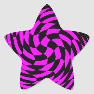 Cute punk fuscia and black abstract star sticker