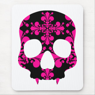 Cute punk goth fanged skull hot pink and black mouse pad