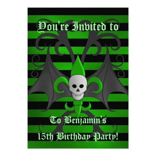Cute punk goth skull green birthday party teen boy invitation