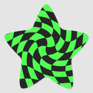 Cute punk neon green and black star star sticker