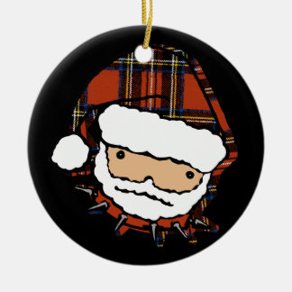 Cute Punk Plaid Santa Ceramic Ornament