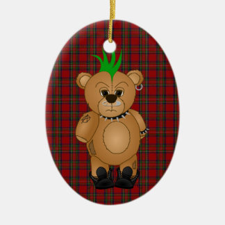 Cute Punk Rock Teddy Bear Cartoon Animal Ceramic Ornament