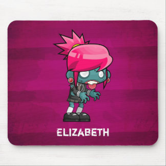 Cute Punk Rock Zombie Girl Illustration Mouse Pad