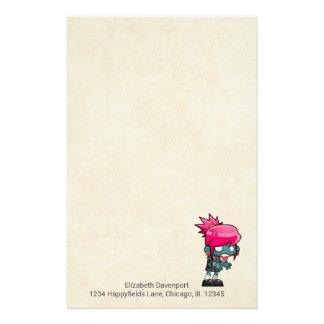 Cute Punk Rock Zombie Girl Illustration Stationery