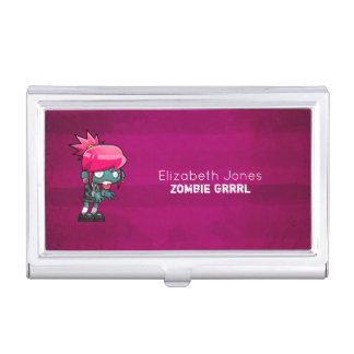 Cute Punk Rock Zombie Grrrl Personalized Business Card Holder