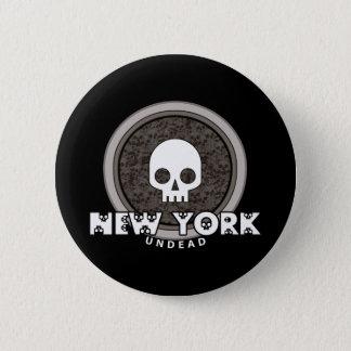 Cute Punk Skull New York Button Dark