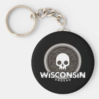Cute Punk Skull Wisconsin Keychain Dark
