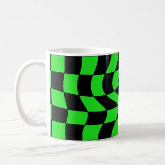 Cute punk wavy squares neon green and black coffee mug