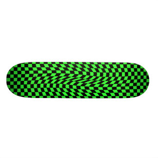 Cute punk wavy squares neon green and black custom skateboard