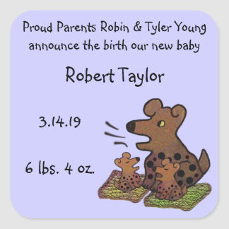 Cute Puppies Birth Announcemmt Square Sticker