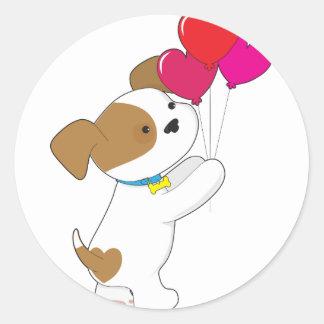Cute Puppy Balloons Round Sticker