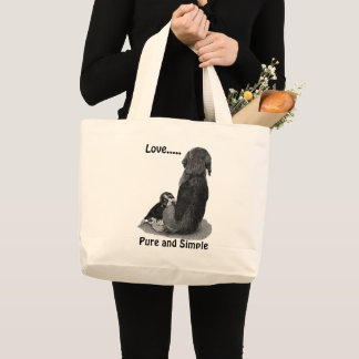Cute puppy beagle with mom dog black and white art large tote bag