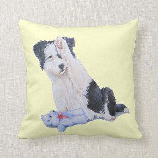 Cute puppy border collie and teddy dog art throw pillow