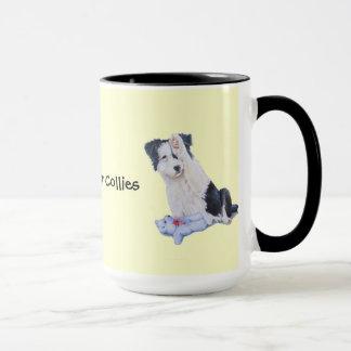 Cute puppy border collie realist dog portrait art mug