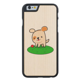 Cute puppy cartoon carved maple iPhone 6 case