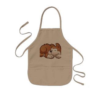 Cute puppy cartoon sleeping kids apron