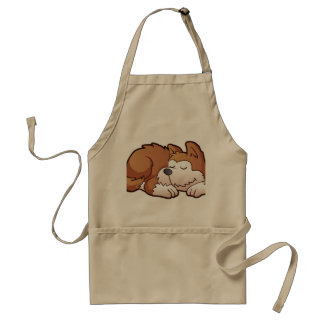Cute puppy cartoon sleeping standard apron