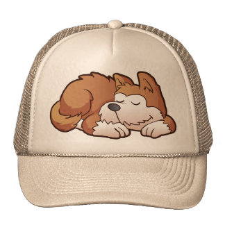 Cute puppy cartoon sleeping trucker hat