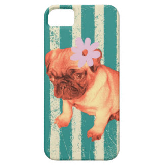 cute puppy daisy green stripes sad pug case for the iPhone 5