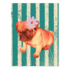 cute puppy daisy green stripes sad pug postcard