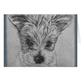 Cute Puppy Dog Drawing of Animal Art Card
