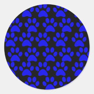 Cute Puppy Dog Paw Prints Blue Black Classic Round Sticker