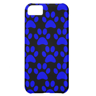 Cute Puppy Dog Paw Prints Blue Black Cover For iPhone 5C
