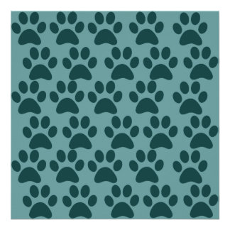 Cute Puppy Dog Paw Prints Blue Gray Dog Lovers Poster