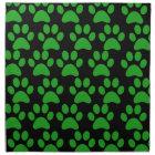 Cute Puppy Dog Paw Prints Green Black Napkin