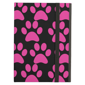 Cute Puppy Dog Paw Prints Hot Pink Black iPad Air Case