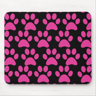 Cute Puppy Dog Paw Prints Hot Pink Black Mouse Pad