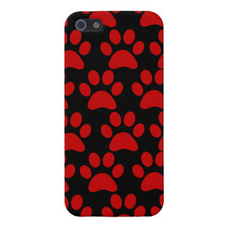 Cute Puppy Dog Paw Prints Red Black iPhone 5 Case