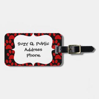 Cute Puppy Dog Paw Prints Red Black Luggage Tag
