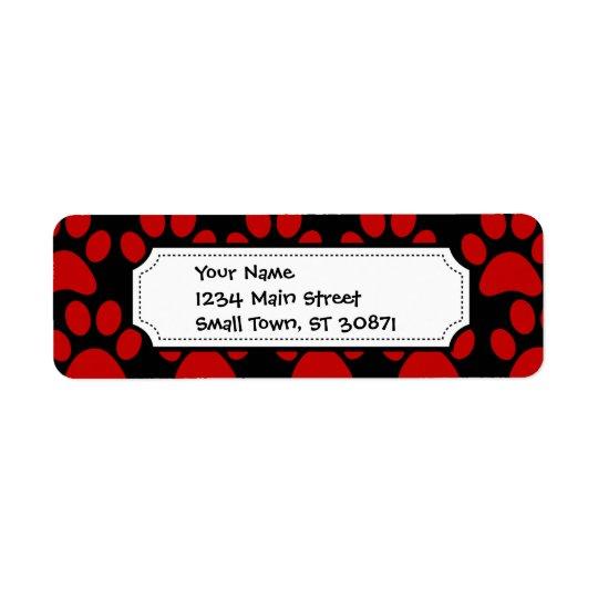 Cute Puppy Dog Paw Prints Red Black Return Address Label