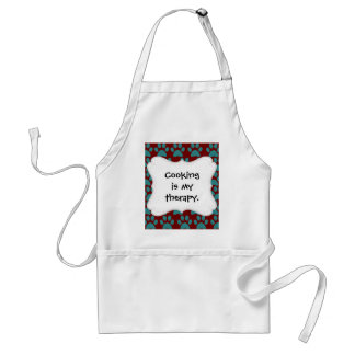 Cute Puppy Dog Paw Prints Red Blue Adult Apron