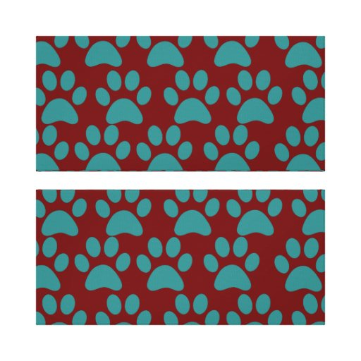 Cute Puppy Dog Paw Prints Red Blue Stretched Canvas Print