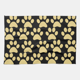 Cute Puppy Dog Paw Prints Tan Black Kitchen Towel