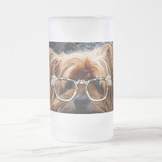 Cute Puppy Dog Pet Peace Love Destiny Art Frosted Glass Beer Mug