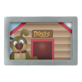 Cute Puppy Dog with Dog House Illustration Belt Buckle