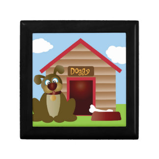 Cute Puppy Dog with Dog House Illustration Gift Box