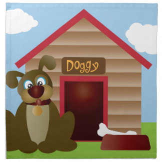 Cute Puppy Dog with Dog House Illustration Napkin