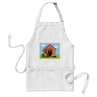 Cute Puppy Dog with Dog House Illustration Standard Apron