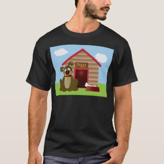 Cute Puppy Dog with Dog House Illustration T-Shirt