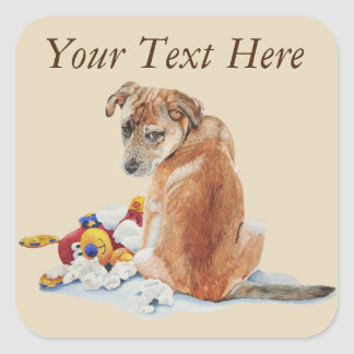 cute puppy dog with sorry expression and teddies square sticker