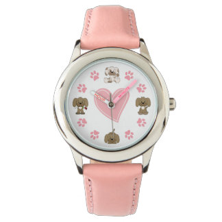 Cute Puppy Dogs, Pink Paw Prints and Heart Watch