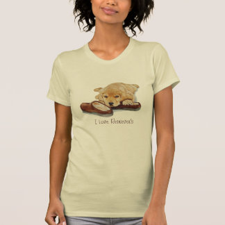 cute puppy golden retriever cuddling slippers art T-Shirt