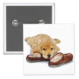 cute puppy golden retriever dog cuddling slippers 2 inch square button