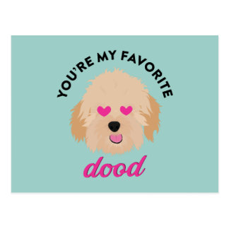 Cute Puppy Goldendoodle Valentine's Day Card Postcard
