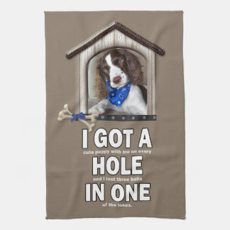 Cute Puppy Golf Towel with a Little Humor