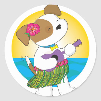 Cute Puppy Hawaii Classic Round Sticker